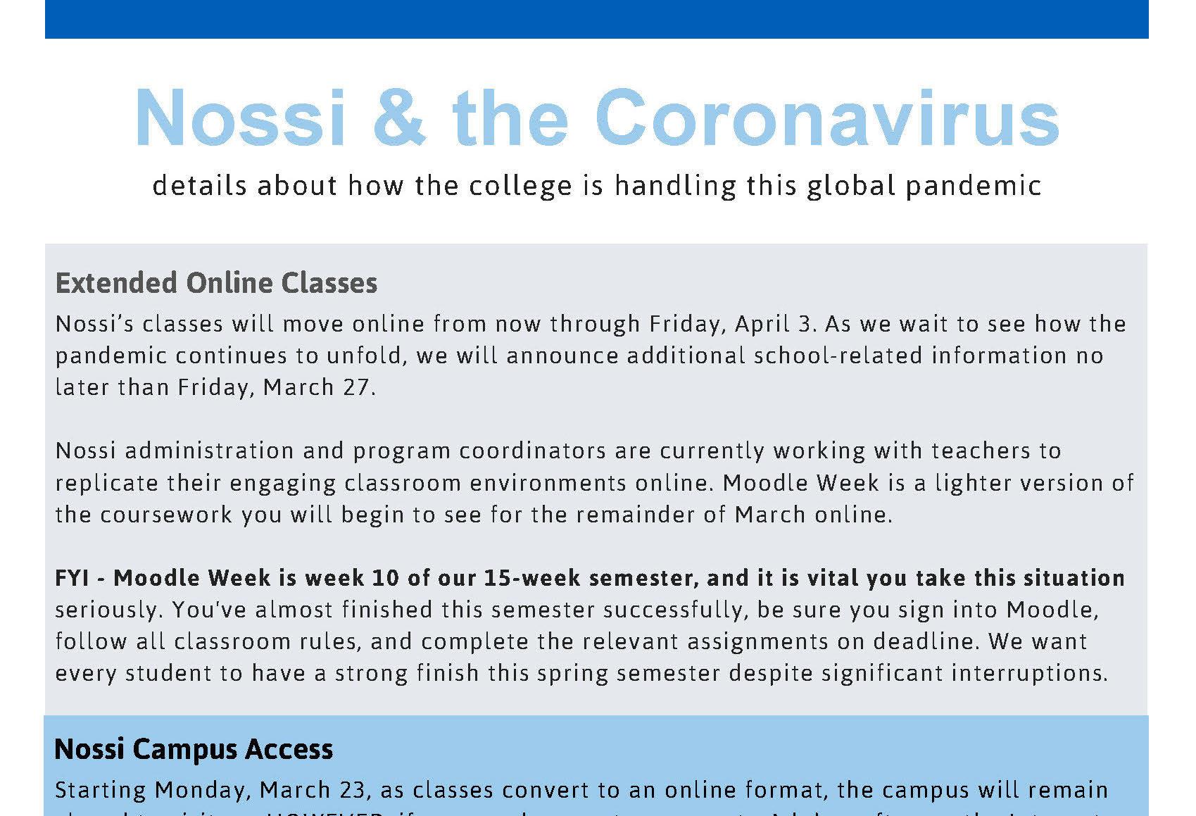Nossi college coronavirus precautions