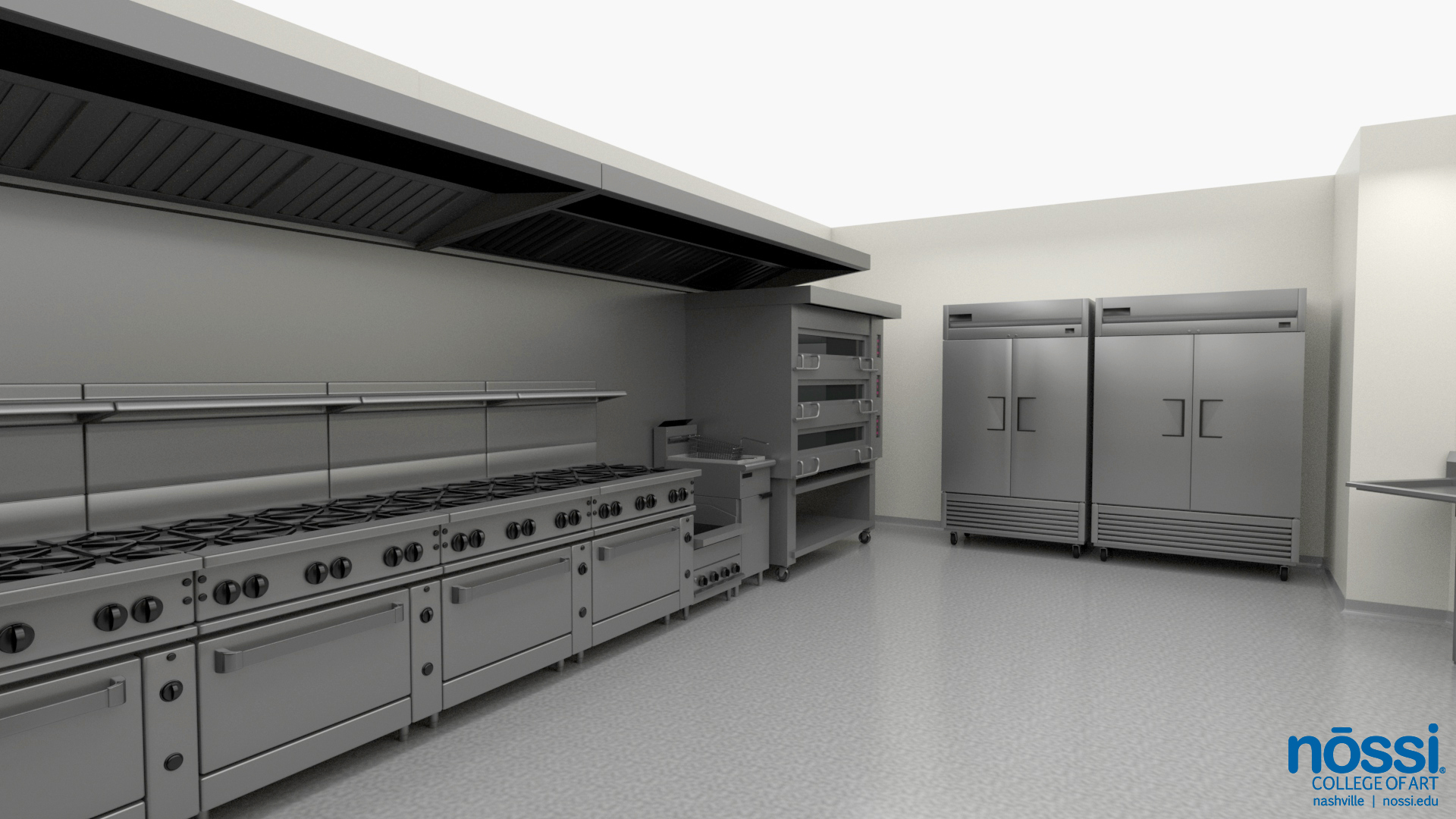 Art College Kitchen Mockup, Culinary Arts Degree, teaching line with gas grills and stoves