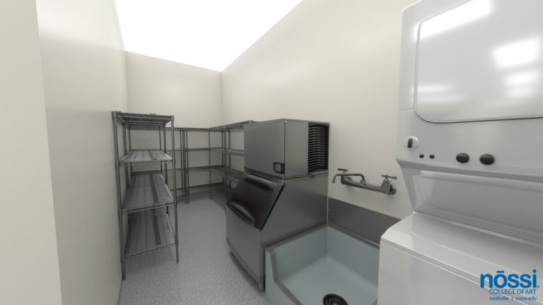 Art College Kitchen Mockup, Culinary Arts Degree, storage for ice, sink, and washer/dryer